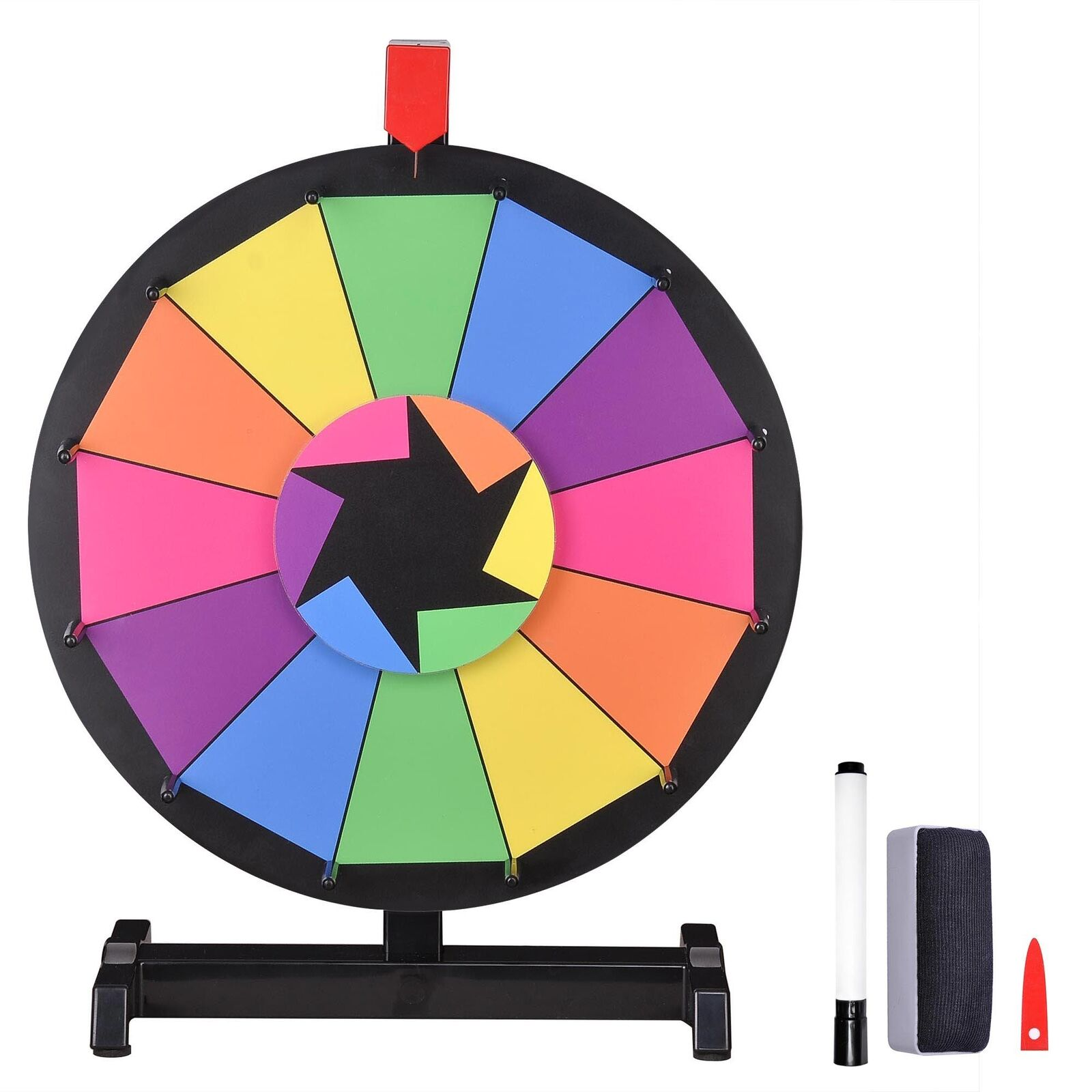 """WinSpin™ 15"""" Tabletop Color Prize Wheel of Fortune 12 Slot Spin Game Tradeshow"""