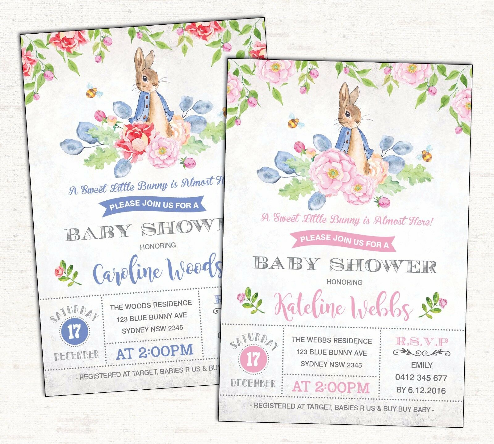 peter rabbit baby shower invitation boy girl bunny party invite first