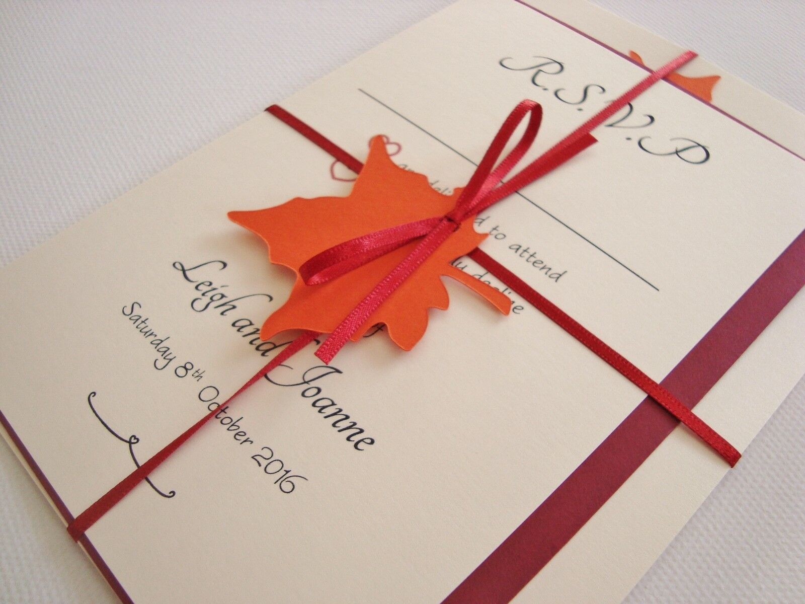 PERSONALISED HANDMADE RIBBON Tied Autumn Leaf Wedding Invitation ...