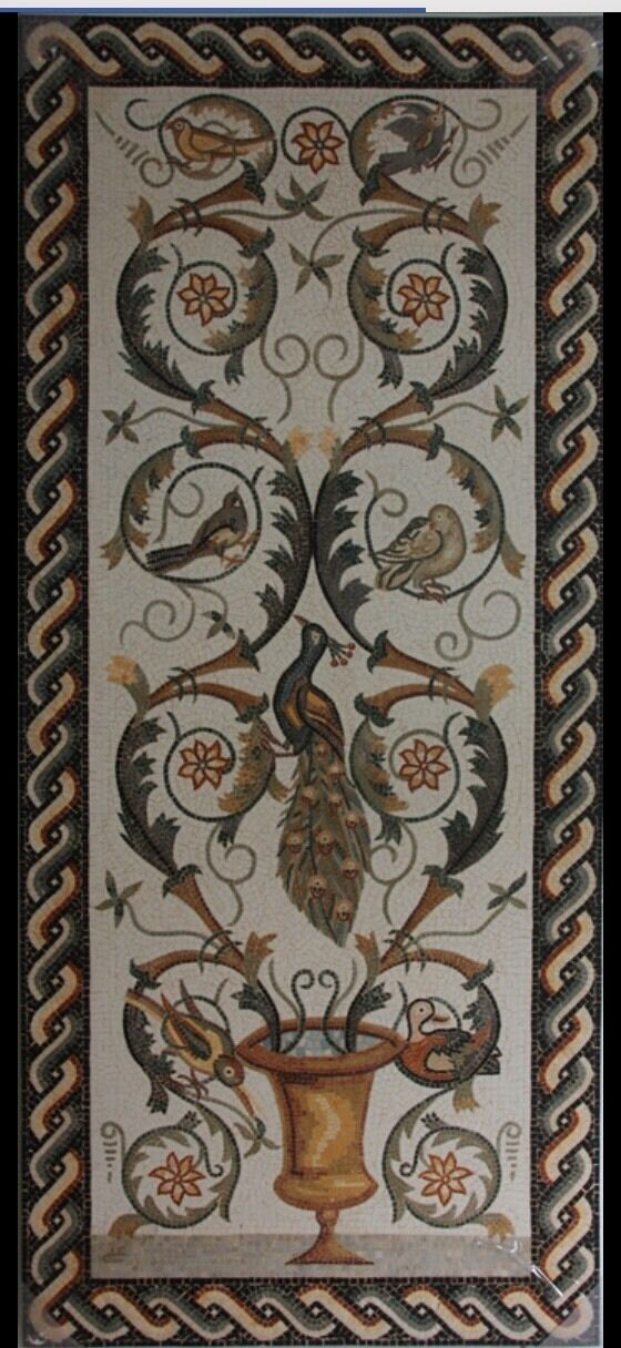 Roman style Mosaic Stone Panel with Birds And Floral Design