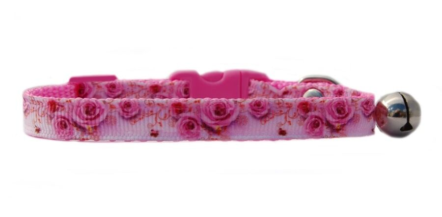 """Beautiful  Pink """"Japanese Roses & Butterfly """" safety kitten cat collar 3 sizes"""