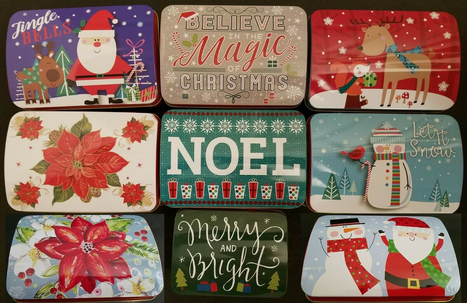 CHRISTMAS HOLIDAY COOKIE TINS Hinged Lids Nesting Gift Boxes SELECT ...