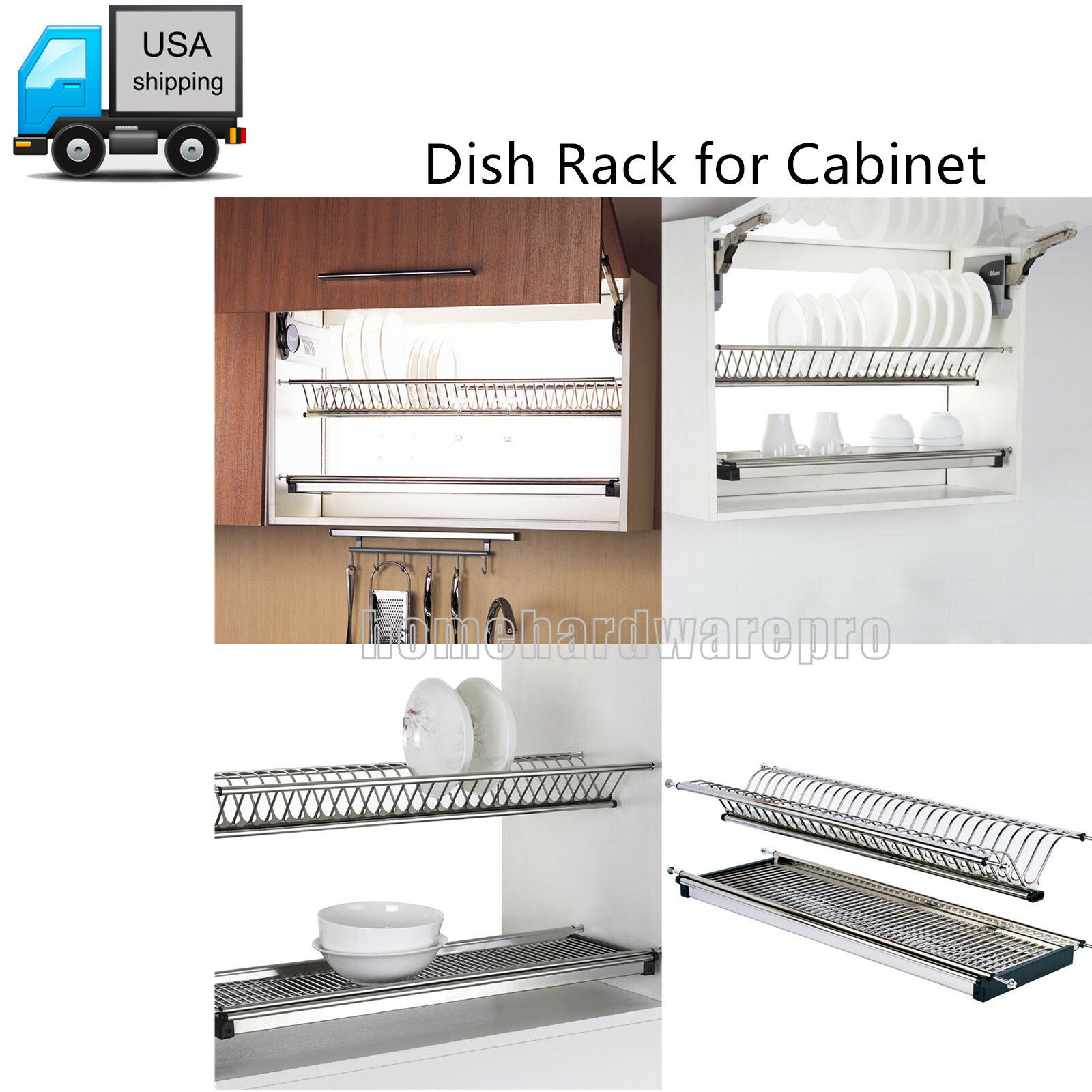 2 TIER DISH Drain Rack 304 Stainless Steel for Kitchen Cabinet Plate ...