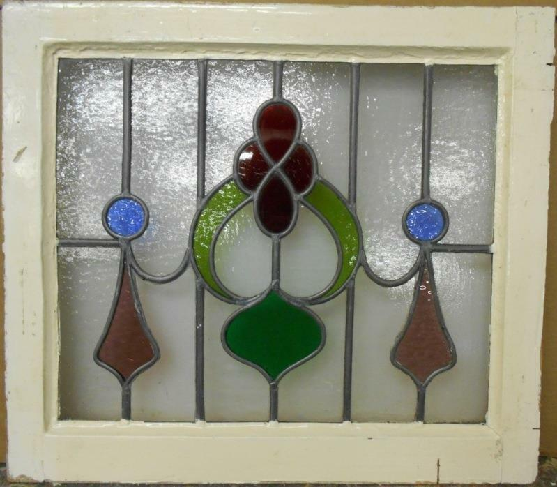 """OLD ENGLISH LEADED STAINED GLASS WINDOW Beautiful Abstract Floral 21.75"""" x 19"""""""