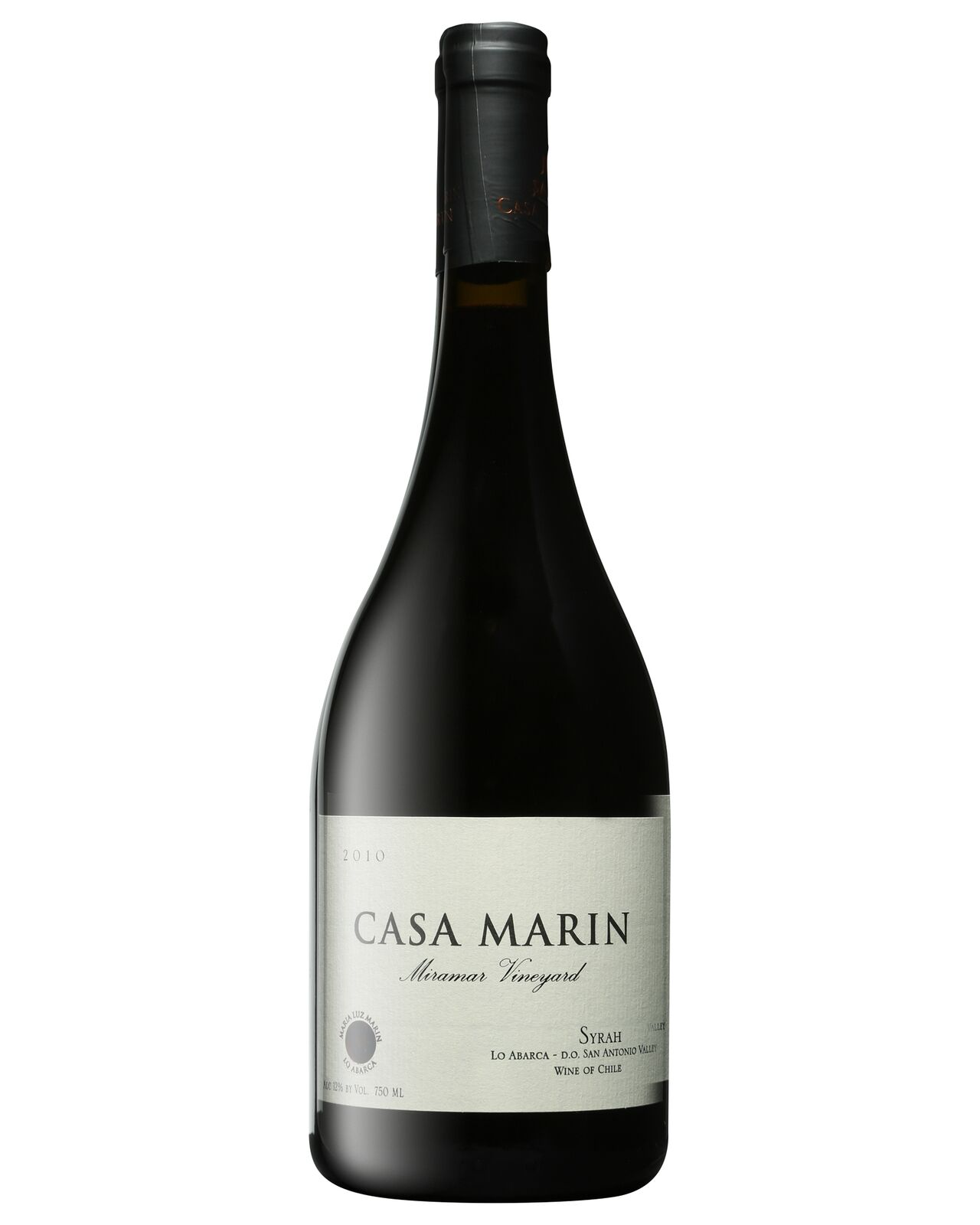 Casa Mar&#237n Miramar Vineyard Syrah 2010 bottle Shiraz Dry Red Wine 750mL