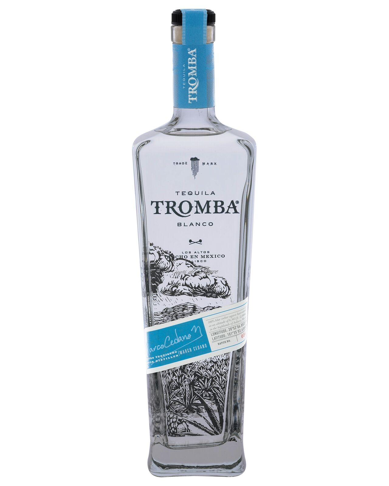 Tromba Blanco Tequila bottle 750mL Los Altos highlands of Jalisco