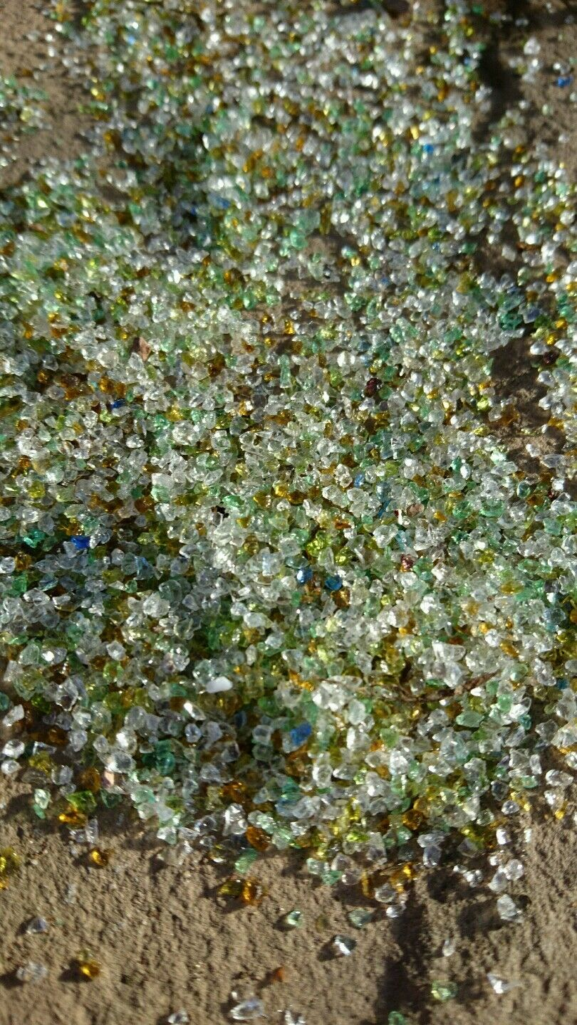 1 kg aquarium pond gravel sparkly recycled tumbled glass 0.5 mm to 1 mm