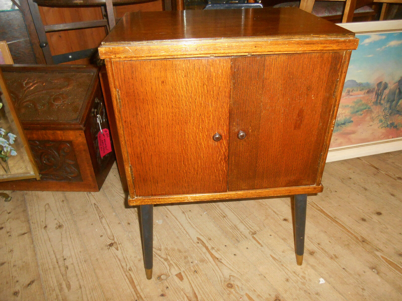 Vintage Retro Record Cabinet 1950s/ 60s Twin Doors Fitted Interior Dansette legs