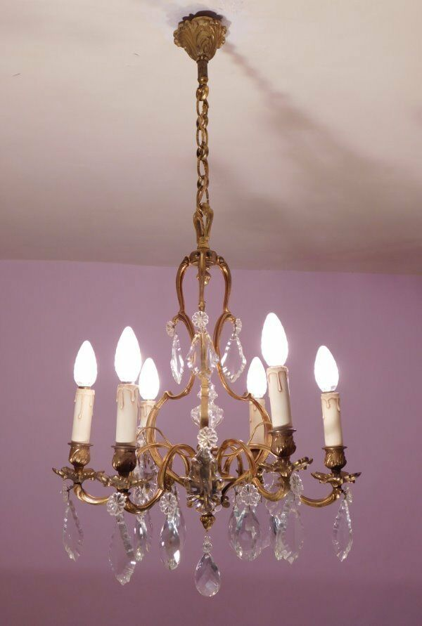 Gorgeous 6 Light Crystal and Bronze Vintage French Birdcage Chandelier