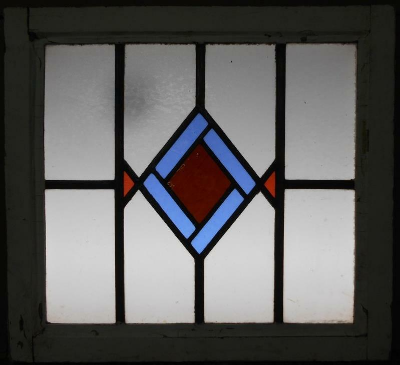 """MID SIZED OLD ENGLISH LEADED STAINED GLASS WINDOW Sweet Geometric 23.25"""" x 20.25"""