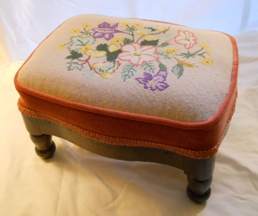 SPECTACULAR Antique Needlepoint Foot Stool with Velvet - PERFECT Condition!