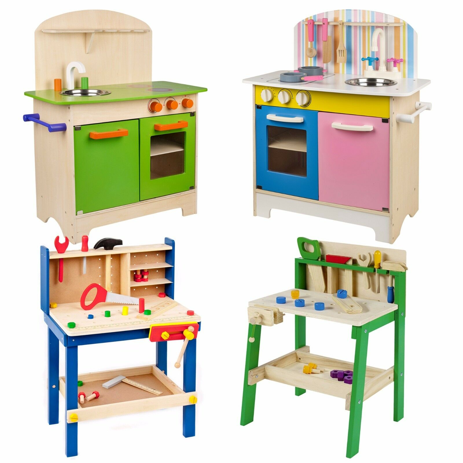KIDS WOODEN WORK Tool Bench Kitchen Set Pretend Play Toys Cooking ...