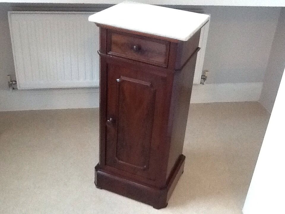 Antique Victorian Mahogany Bedside Cabinet , Marble Top, Drawer