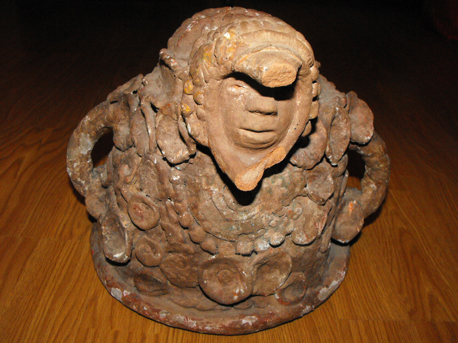 Pre-Columbian Mayan Redware Incensario Cover/Pottery/Sculpture Shaman Ceremonial