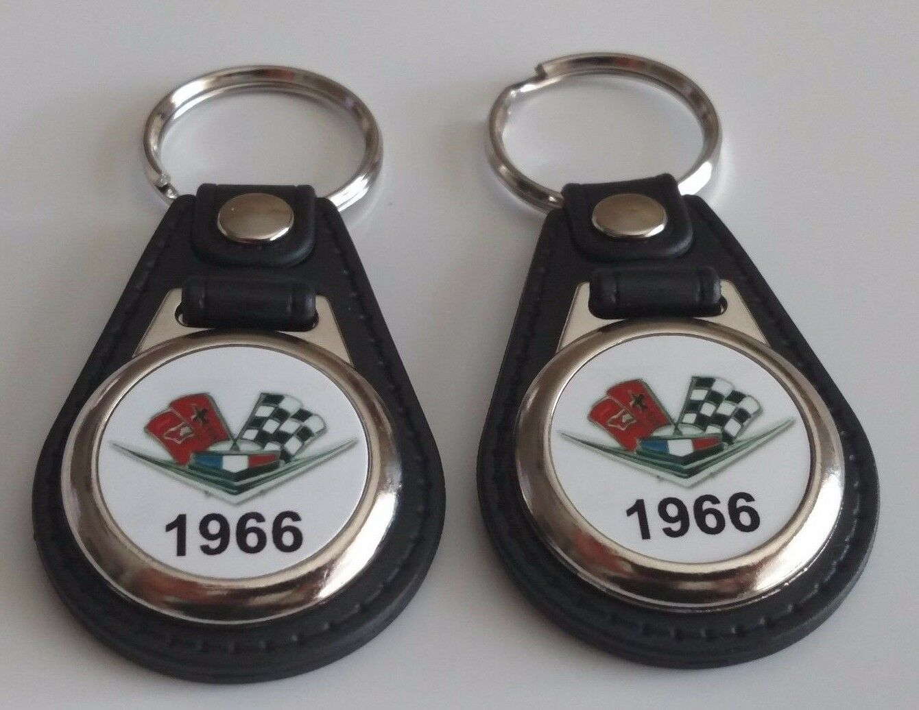 1966 Chevy 2 Pack Of Keychains Chevrolet Bel Air Biscayne Caprice Impala Fob 1