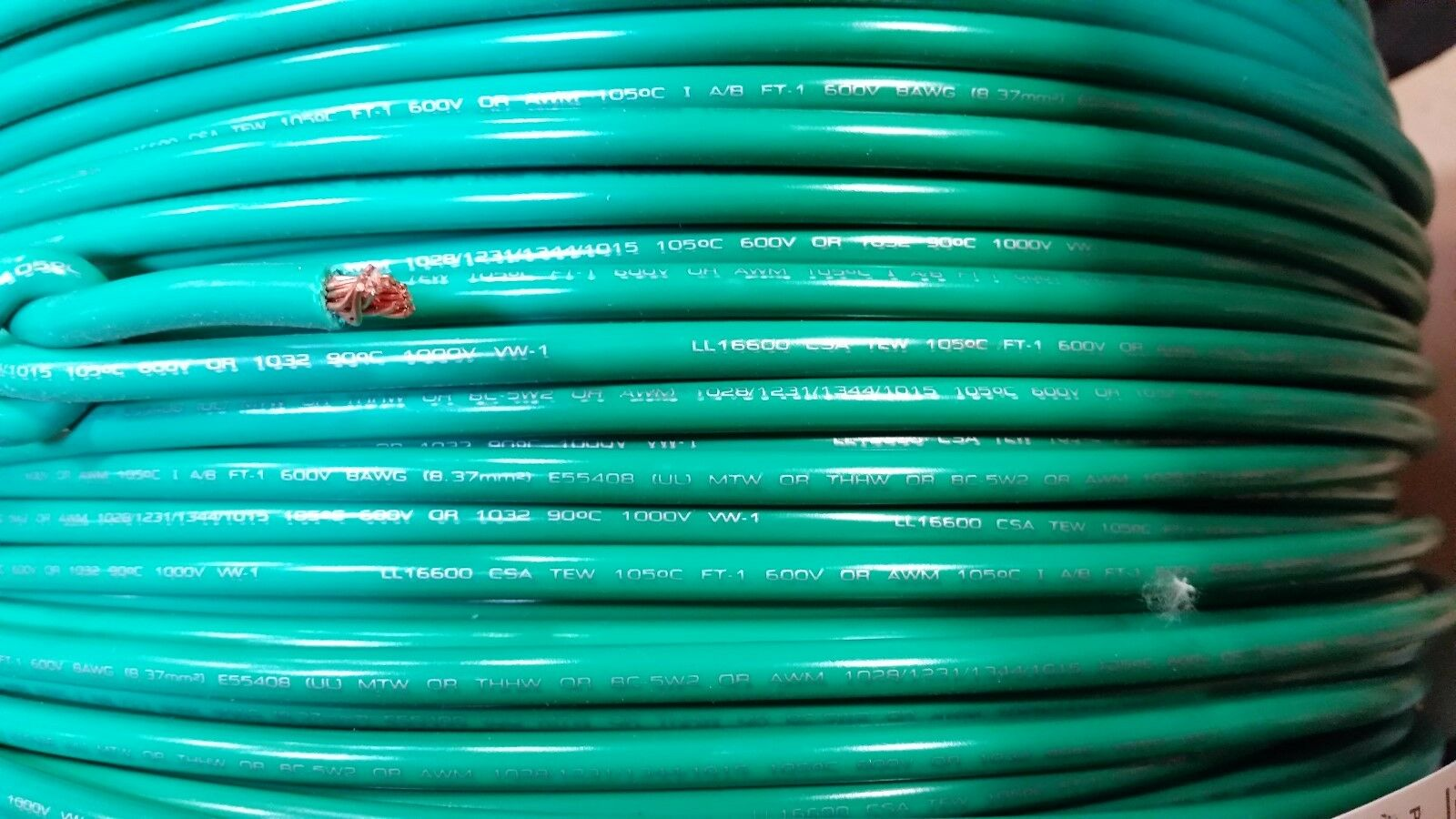 MTW 8 GAUGE Awg Green 19 Strands Copper Ground Primary Wire 1000 Ft ...