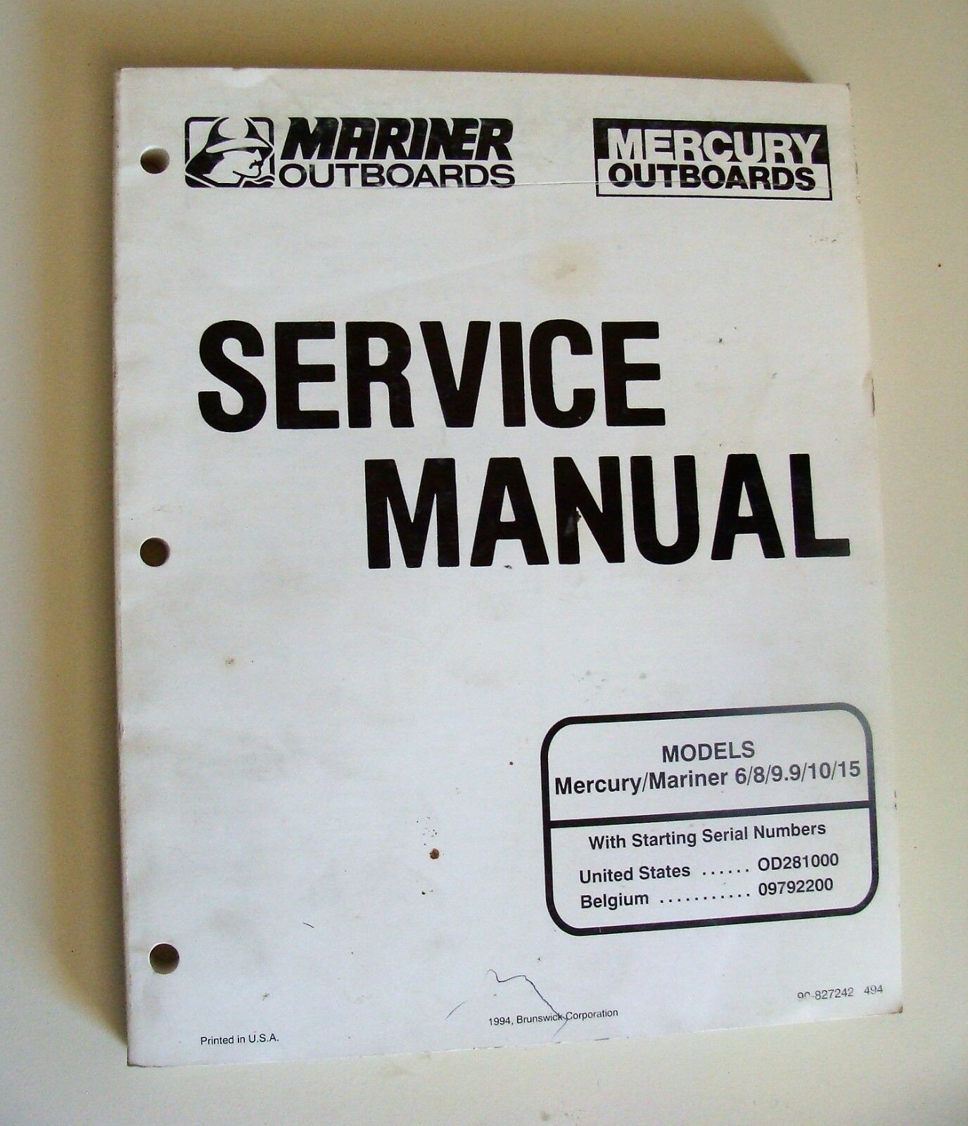 Mercury Mariner 6/8/9.9/10/15 Service Manual OD281000+ 1 of 3Only 1  available Mercury Mariner ...