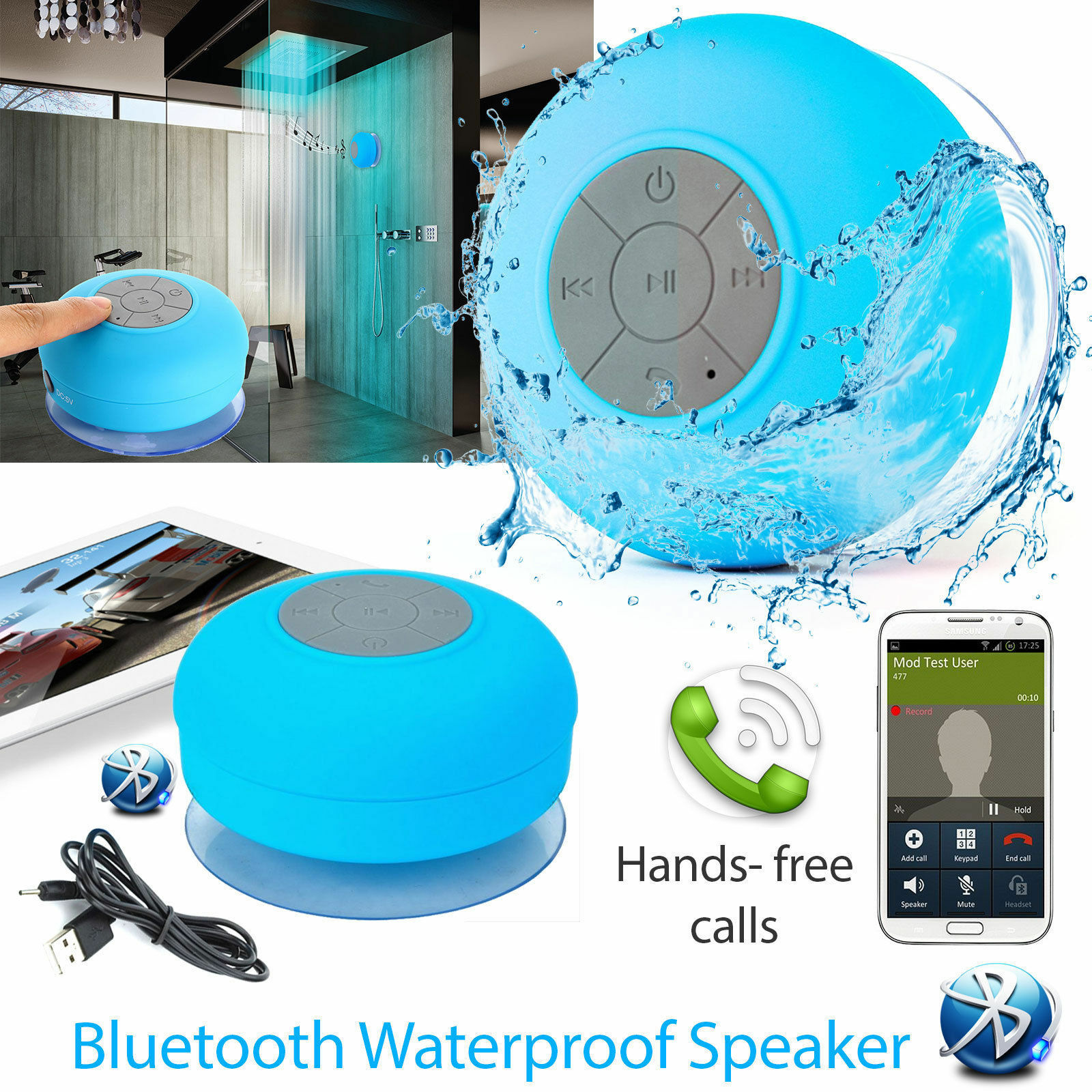 Waterproof Speaker Wireless Bluetooth Handsfree Mic