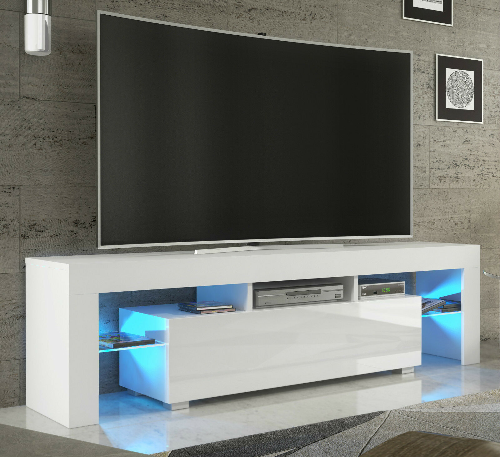 tv 2rack fernsehschrank lowboard sideboard hochglanz weiss. Black Bedroom Furniture Sets. Home Design Ideas
