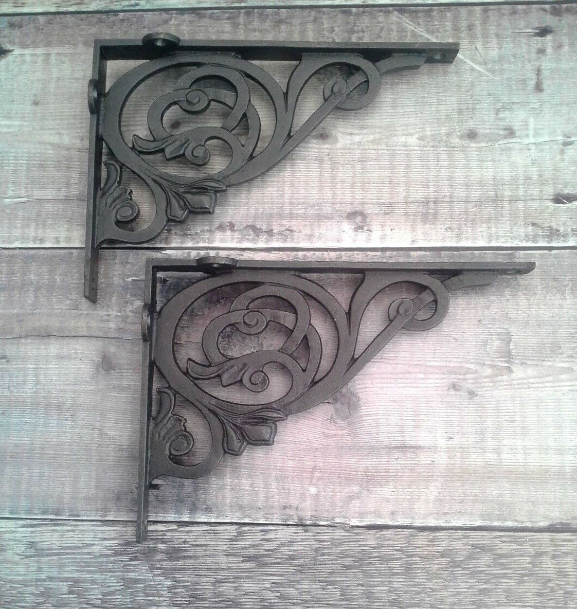 Antique Scrollimgs: PAIR VICTORIAN SCROLL Cast Iron Shelf Brackets Vintage