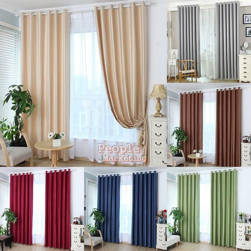 Solid Grmmet Door Window Curtain Lined Blackout Thermal Treatment Drape Panel Picclick