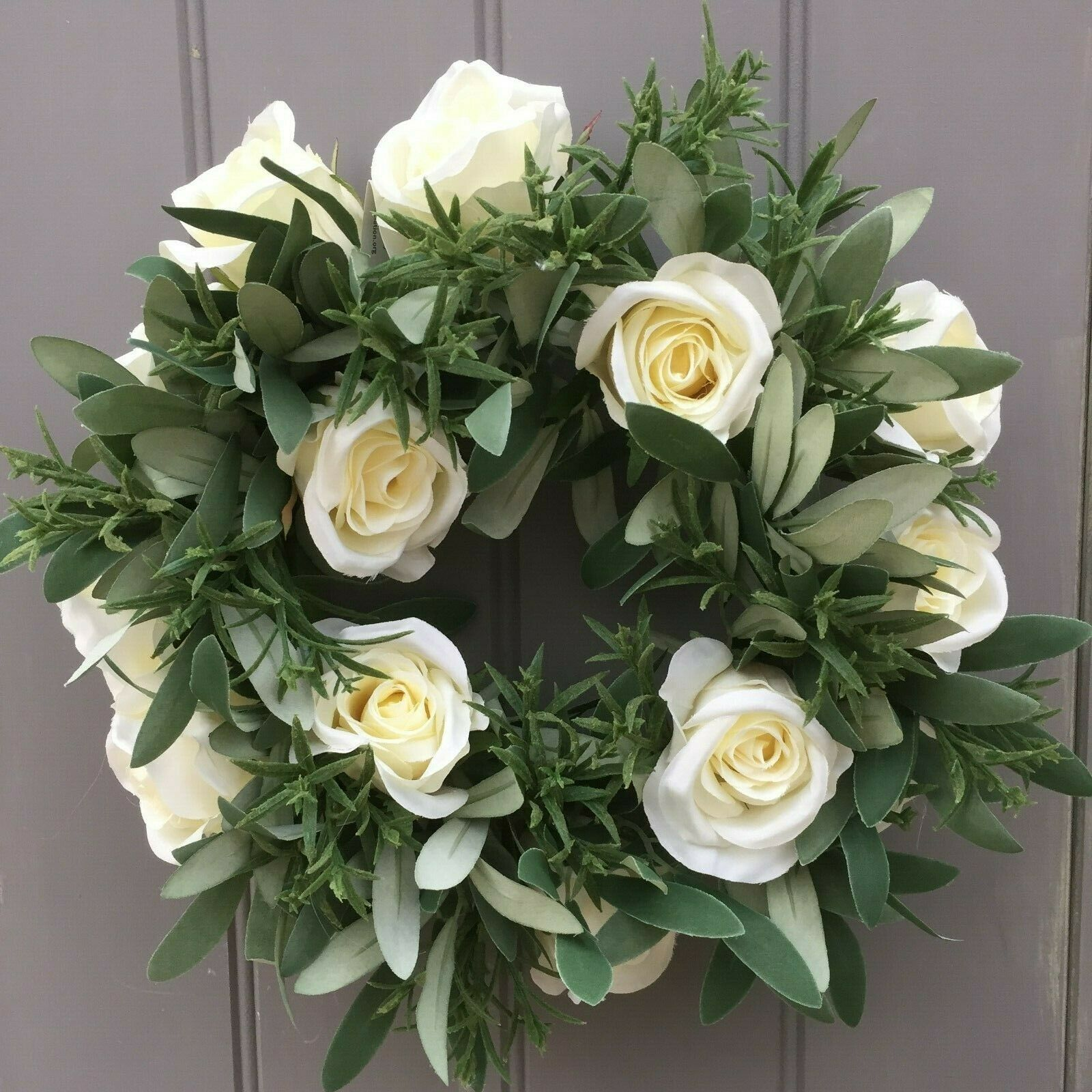 Wedding Table Candle Ring Artificial Silk Flowers Cream Roses