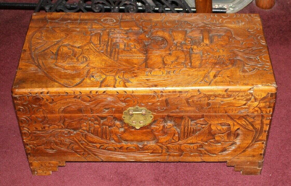 Antique Chinese Wood Carved Large Storage Chest Trunk Dragons U0026  Men Detailed 1 Of 12Only 1 Available Antique Chinese Wood Carved Large  Storage Chest ...