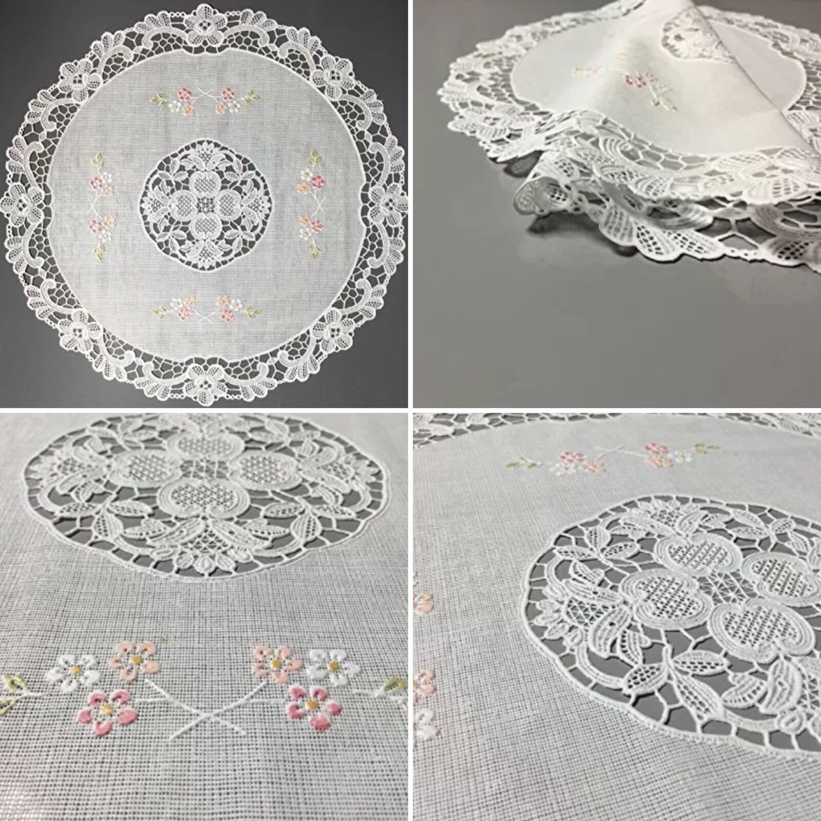 vinyl lace placemats four plastic white floral 4 round set christmas gift 1 of 4only 5 available vinyl lace placemats