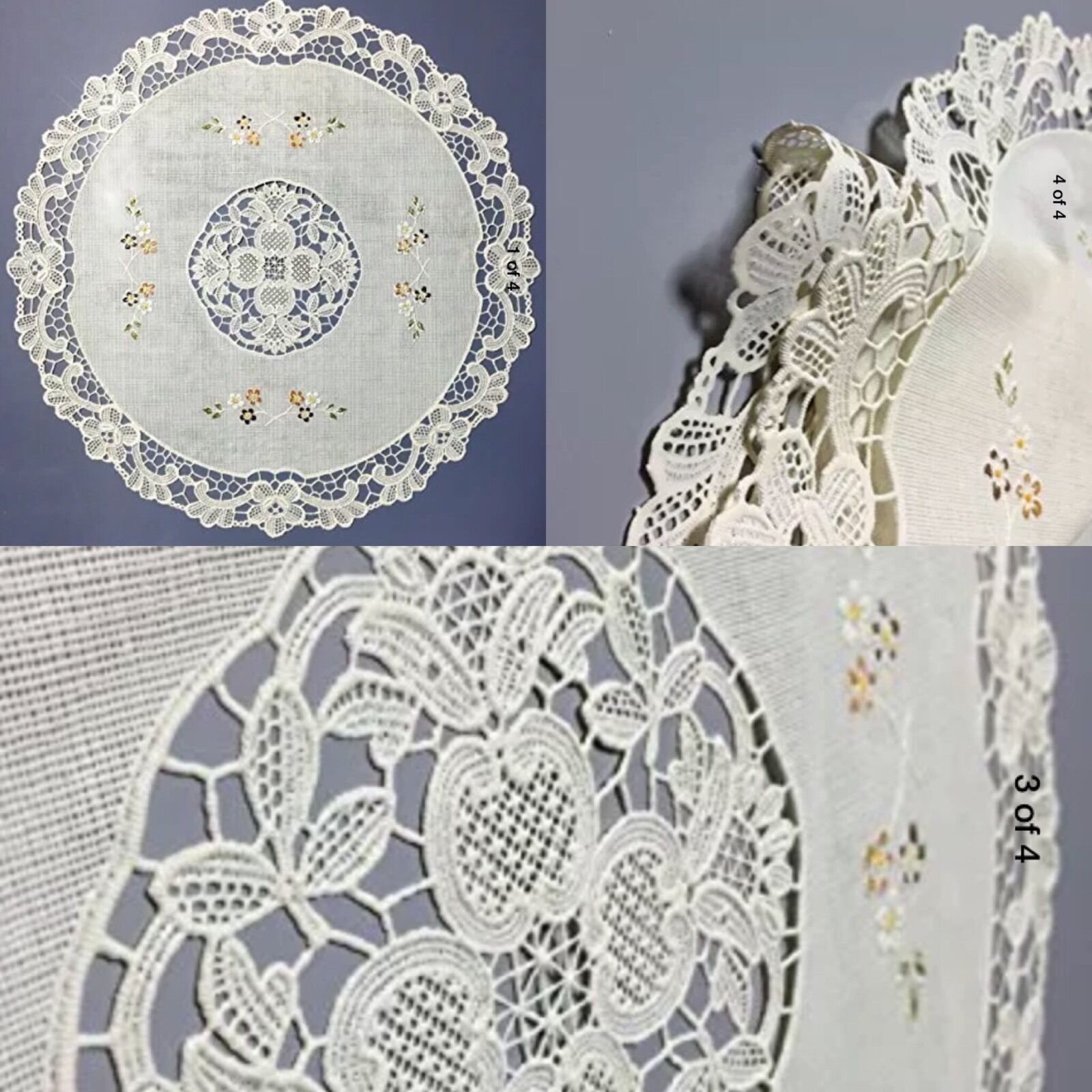 vinyl lace placemats four plastic beige floral 4 round set christmas gift 1 of 4free shipping vinyl lace placemats