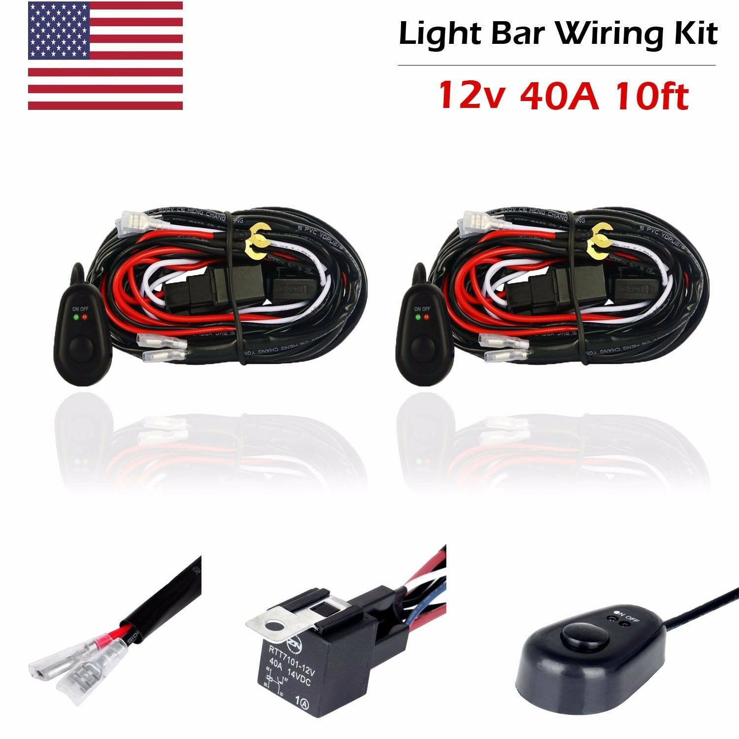 2x Universal Led Light Bar Wiring Harness Kit Offroad Fuse Relay 40 Amp On Off Switch 1 Of 6free Shipping 12v 40a