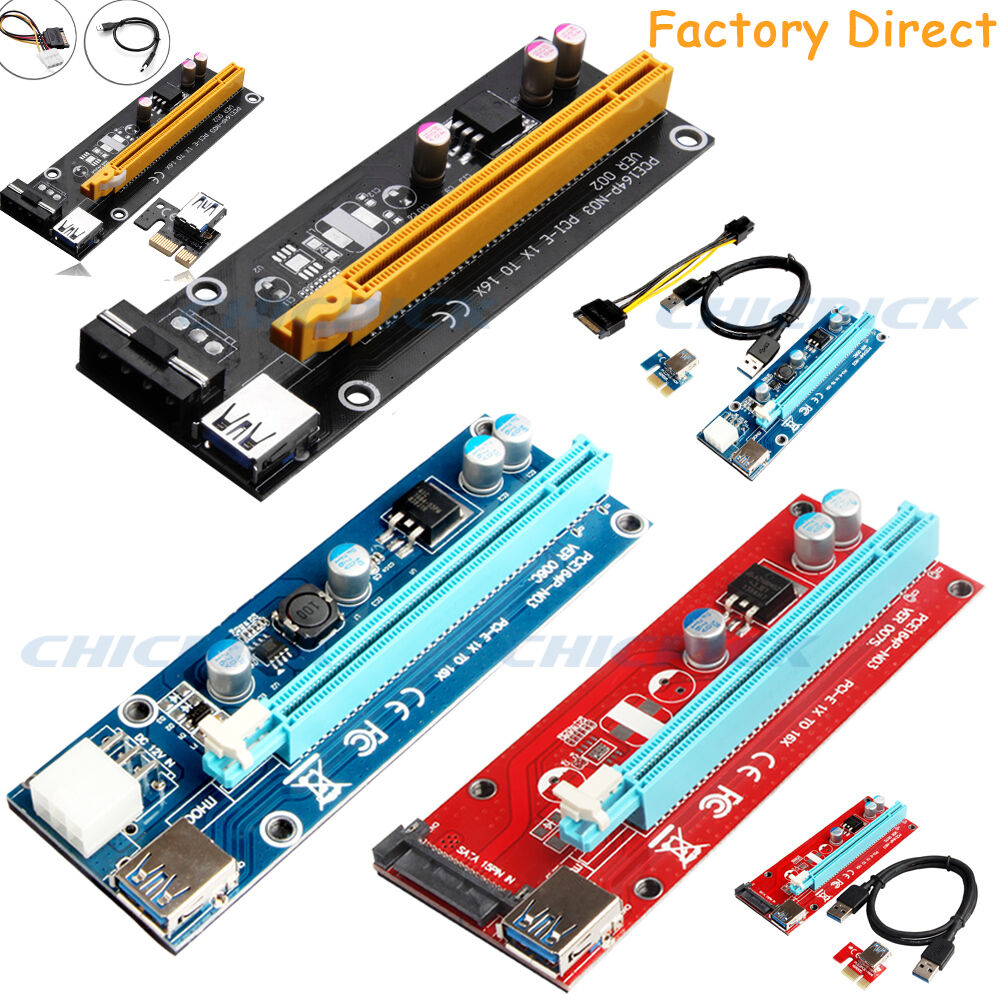 Usb 30 Pcie Pci E Express 1x To 16x Extender Riser Card Adapter 4 Port 1 Of 12free Shipping