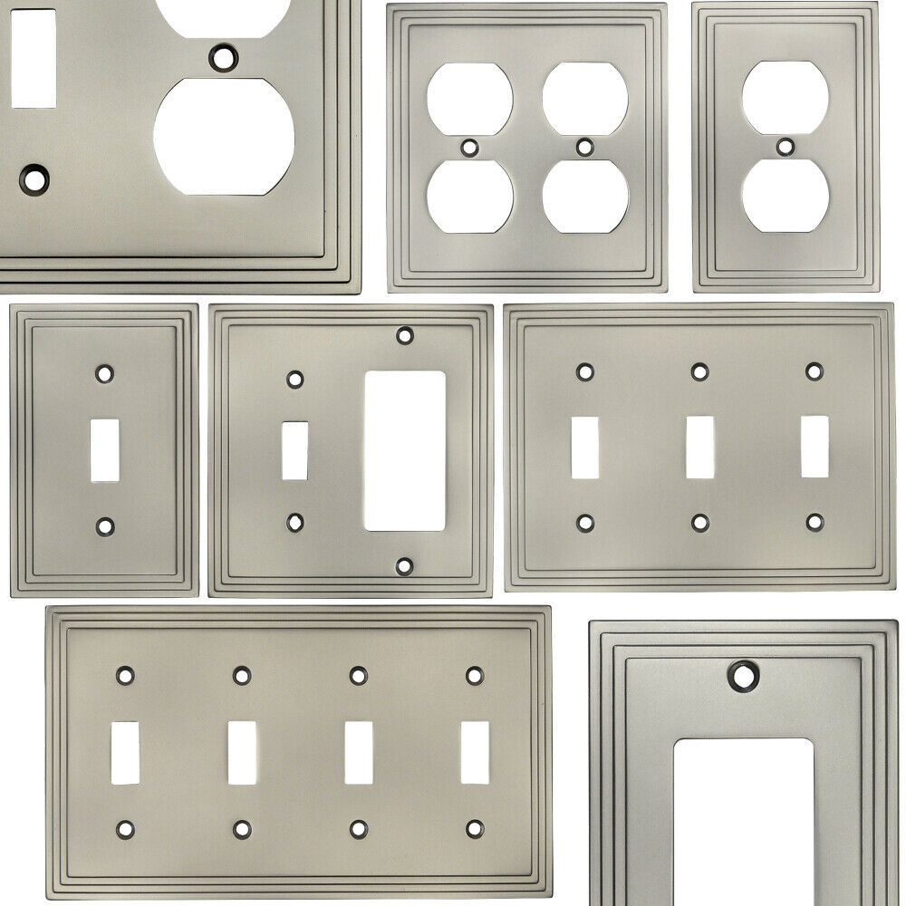 Satin Nickel Switch Wall Plate Duplex Gfci Rocker Decora Switchplate Outlet 1 Of 1free Shipping See More