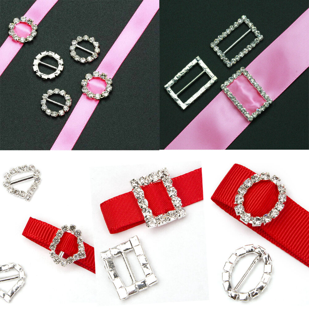 10PCS/SET RHINESTONE DIAMANTE Buckle Ribbon Slider Wedding ...