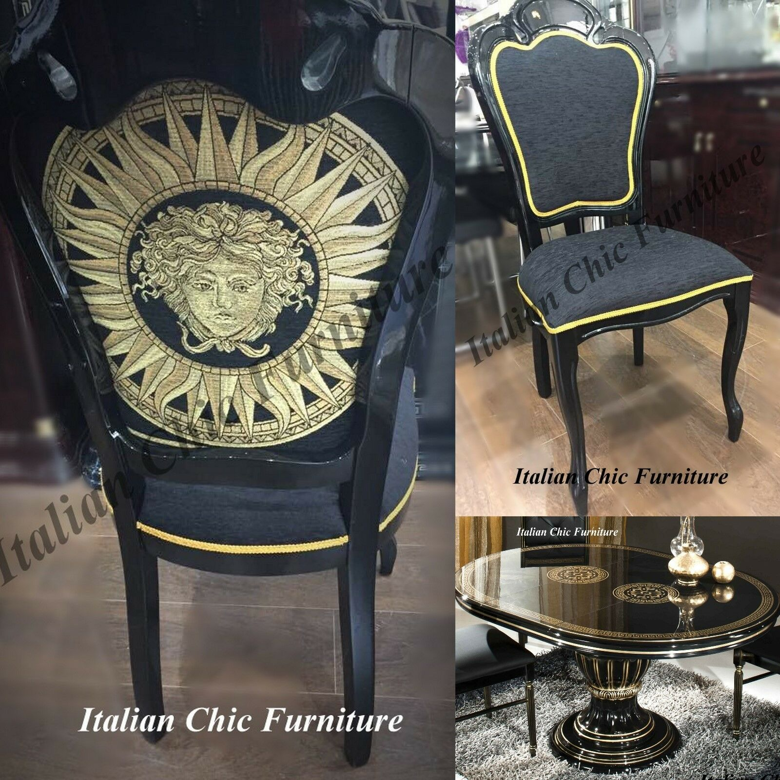 Versace Style Italian Made Dining Table and Chairs Black  : Versace Style Italian Made Dining Table and Chairs from picclick.co.uk size 1600 x 1600 jpeg 415kB