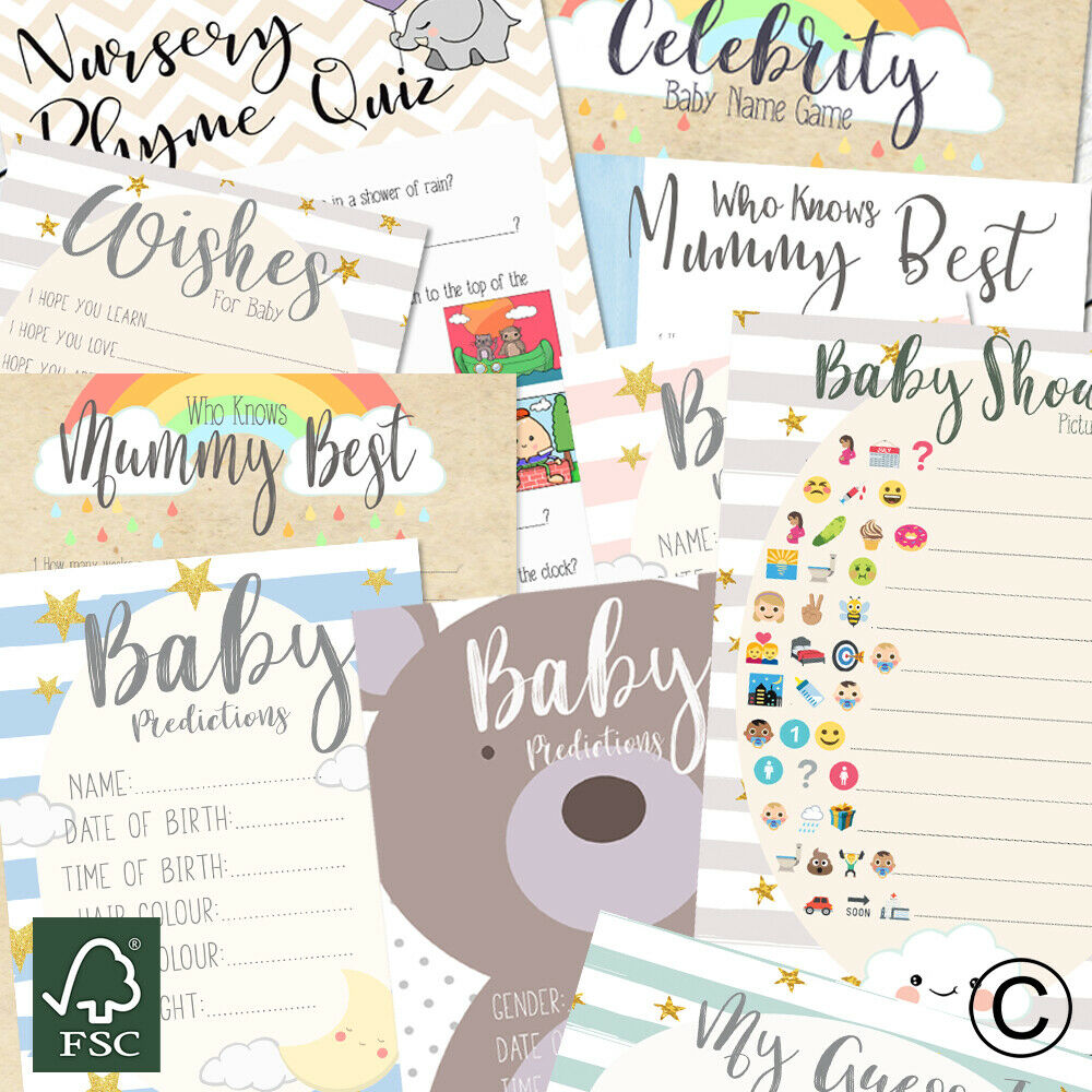 Baby Shower Games Prediction Cards Advice Who Knows Mum Charades