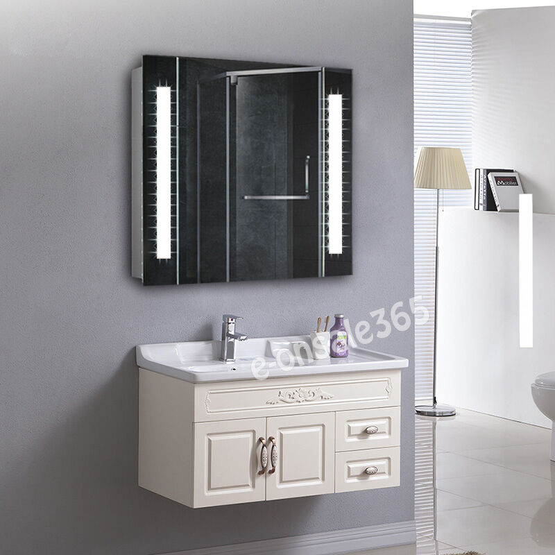 white led lighting bathroom wall mounted cabinet mirror sensor