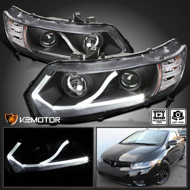 For 2006 2011 Honda Civic Coupe 2Dr Black LED Strip Projector Headlights  Pair 1 Of 11FREE Shipping ...