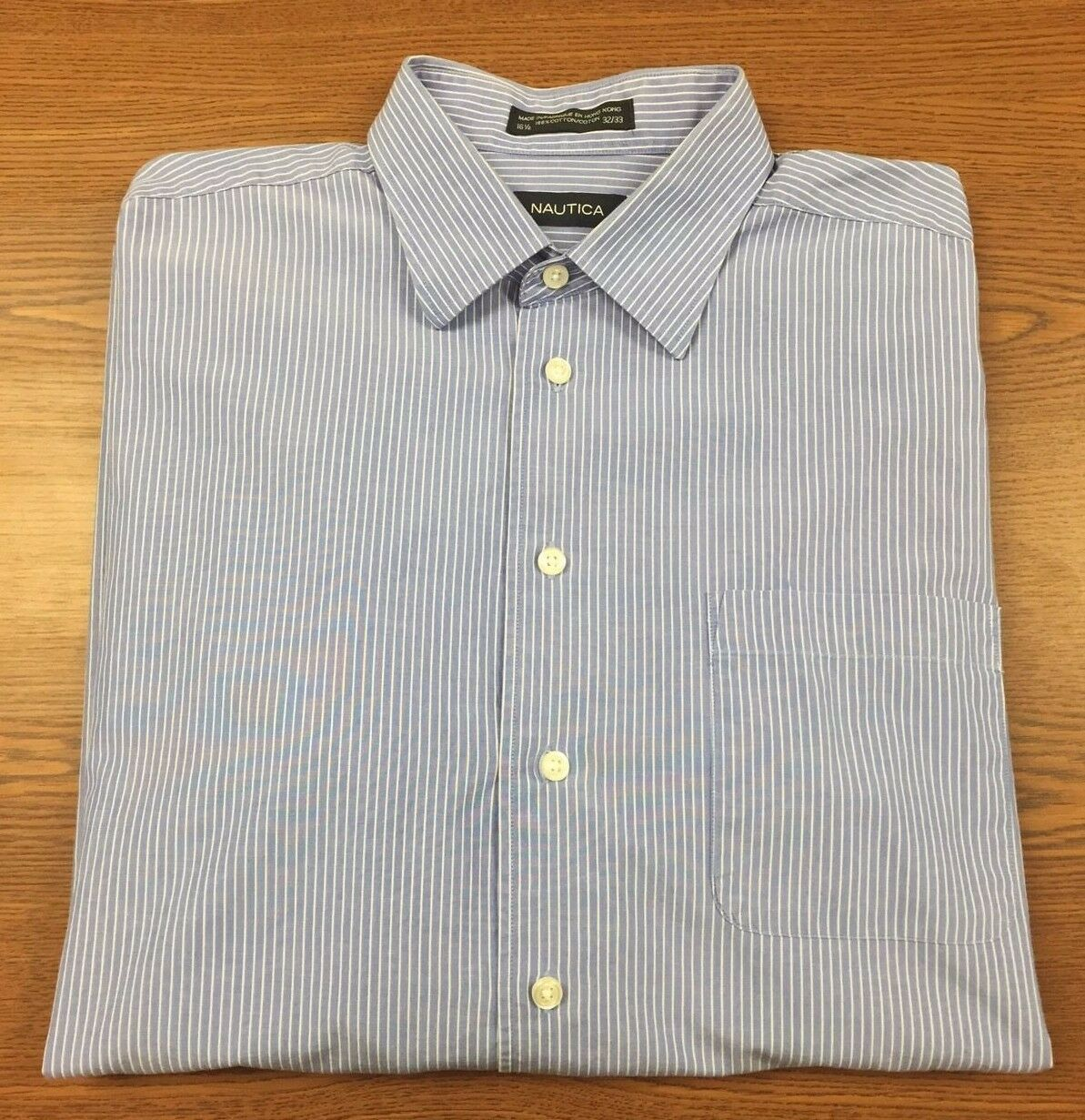 Men 39 S Blue And White Striped Nautica Long Sleeve Button