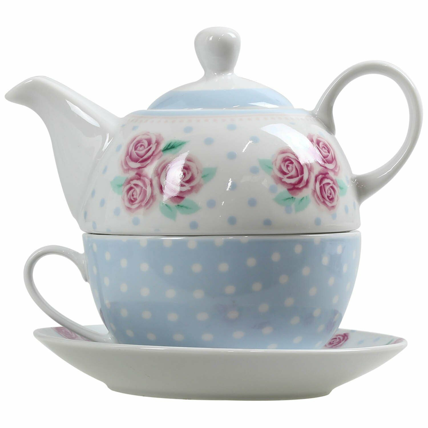 pastel floral polka dot tea for one teapot pot cup and saucer serving set picclick uk. Black Bedroom Furniture Sets. Home Design Ideas