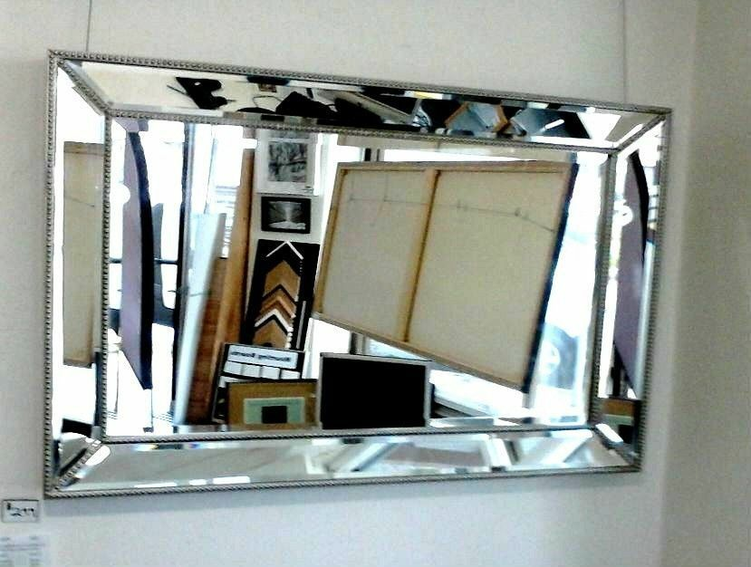 New large silver beaded wall mirror aud picclick au for Large silver modern mirror