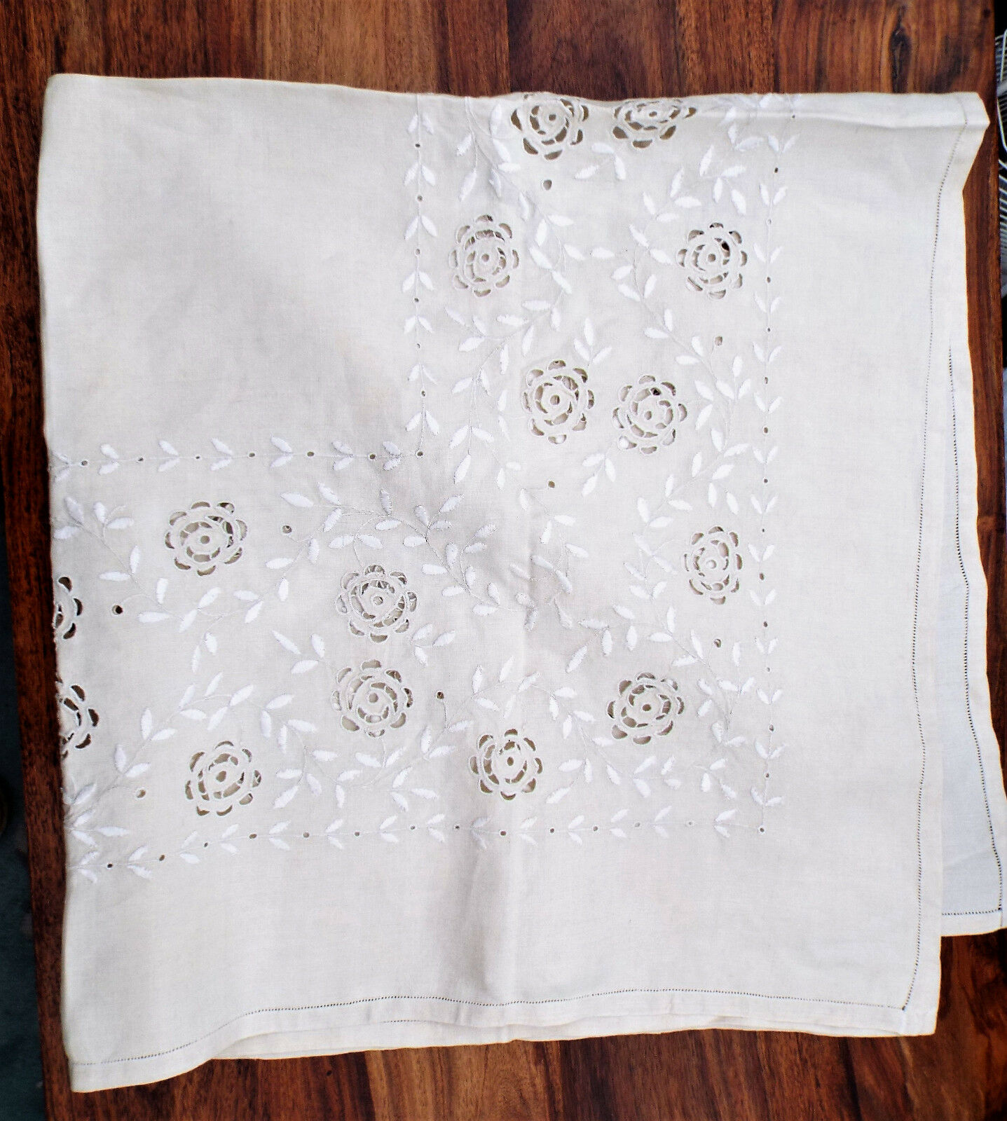 Vintage silk embroidered linen tablecloth £