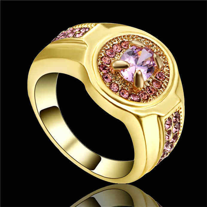 Size 8 Pink Sapphire CZ Engagement Ring 10KT yellow Gold Filled Women s J