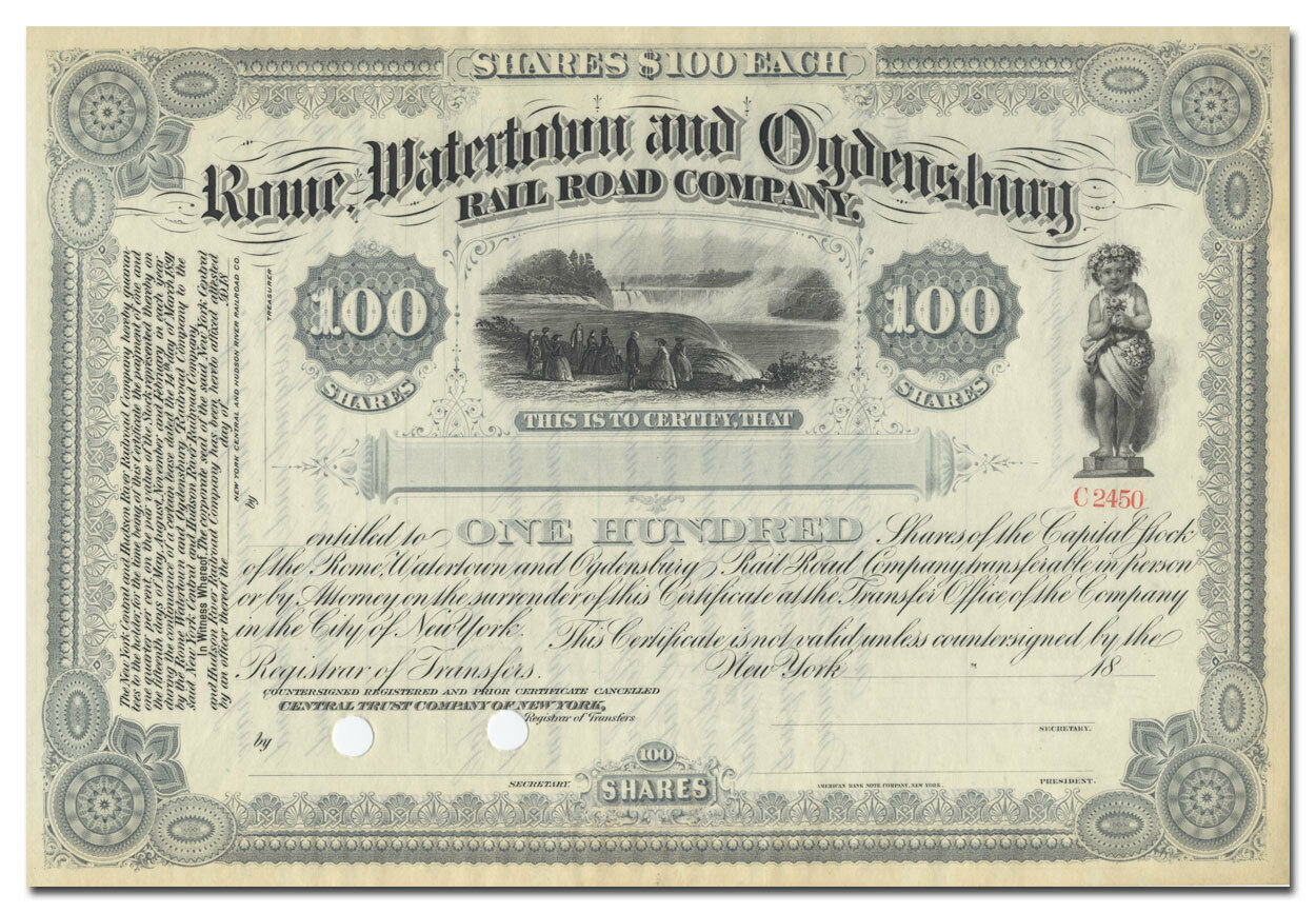 Rome, Watertown and Ogdensburg Rail Road Company Stock Certificate