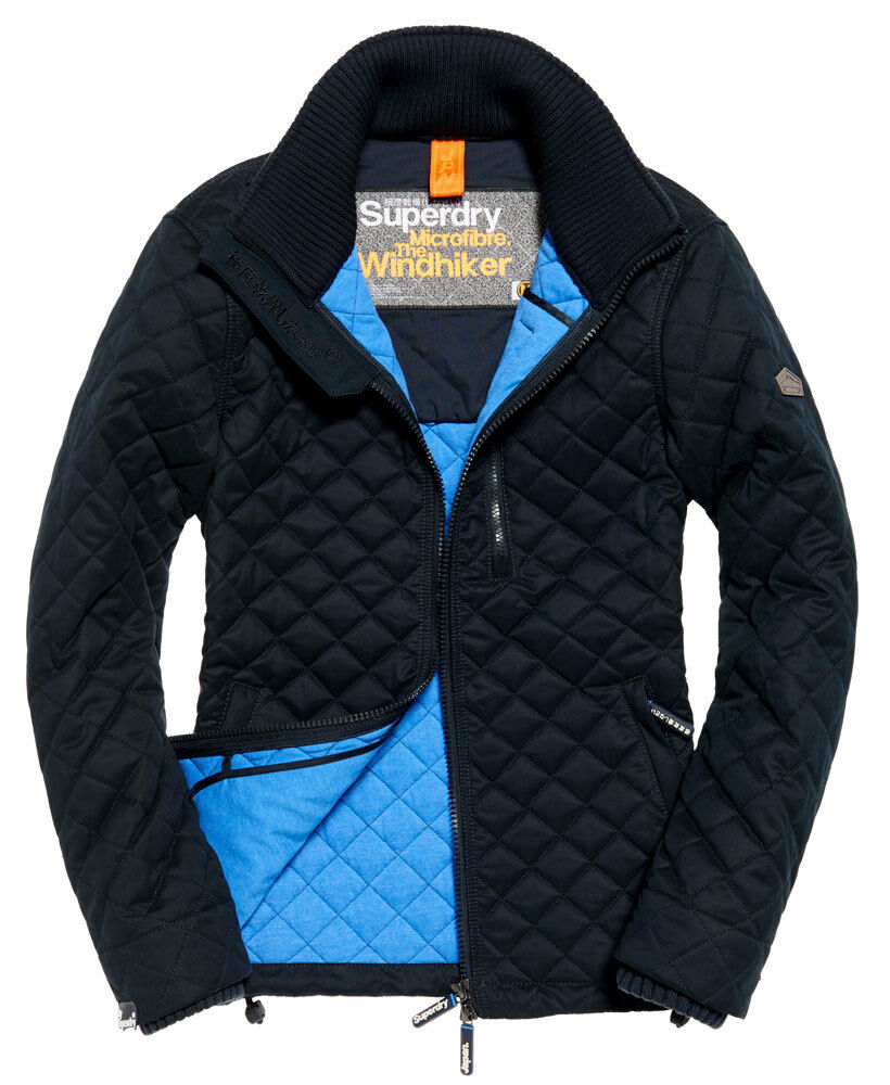 New Mens Superdry Microfibre Quilted Windhiker Jacket