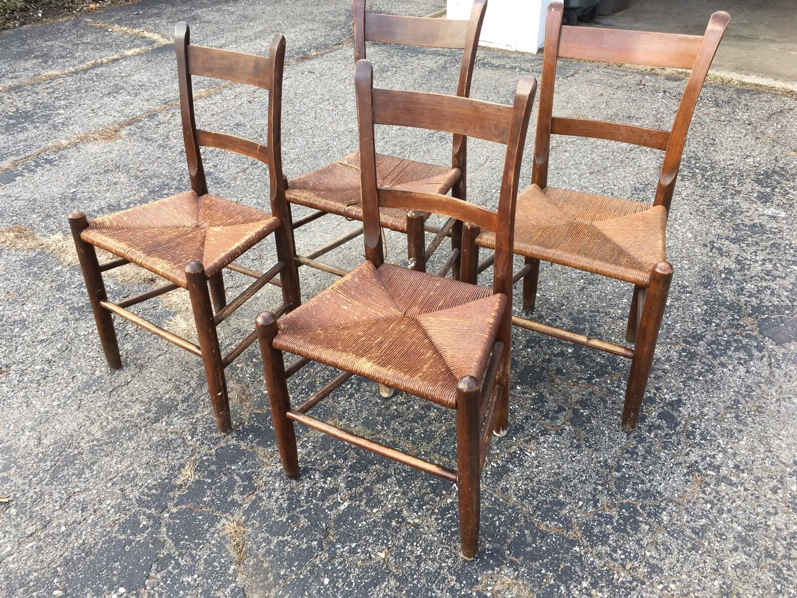 Antique Ladder Back Rush Chairs, Old Farmhouse, Prairie, Country Style 1 Of  6 Antique Ladder Back Rush Chairs ...