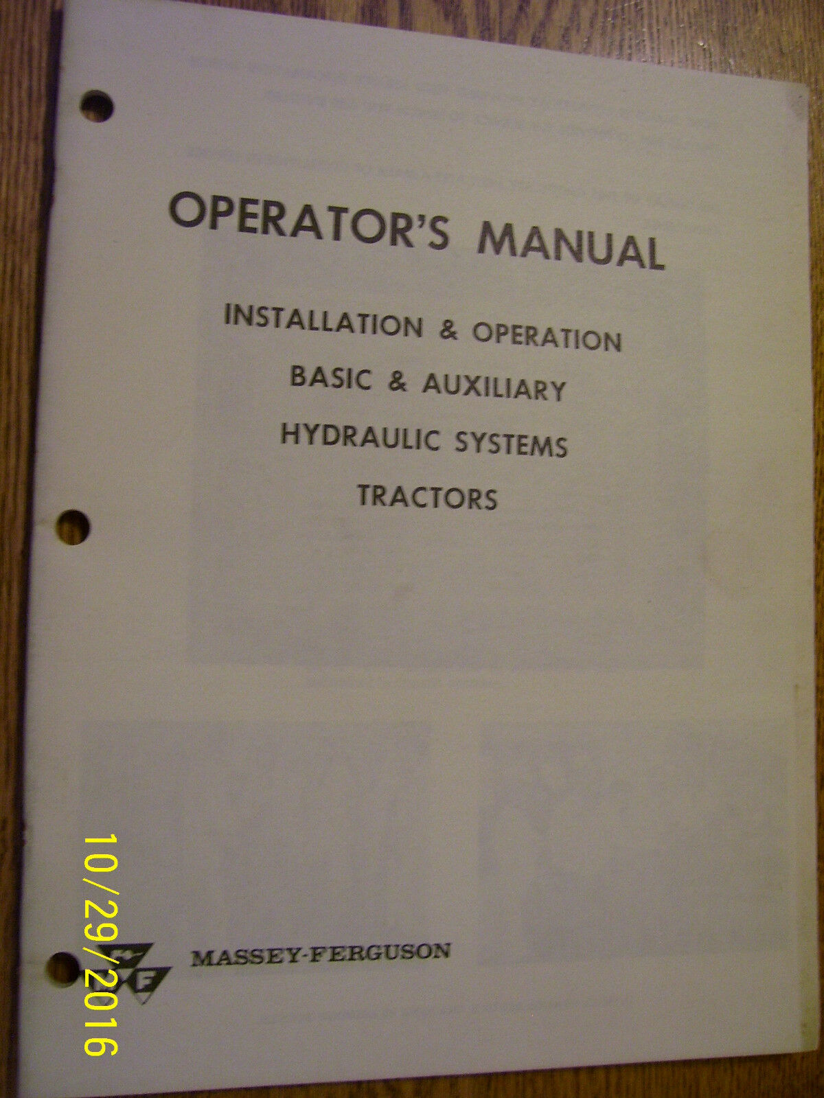 Vintage Massey Ferguson Operators Manual-Tractor Hydraulic Systems - 1965 1  of 2Only 1 available ...