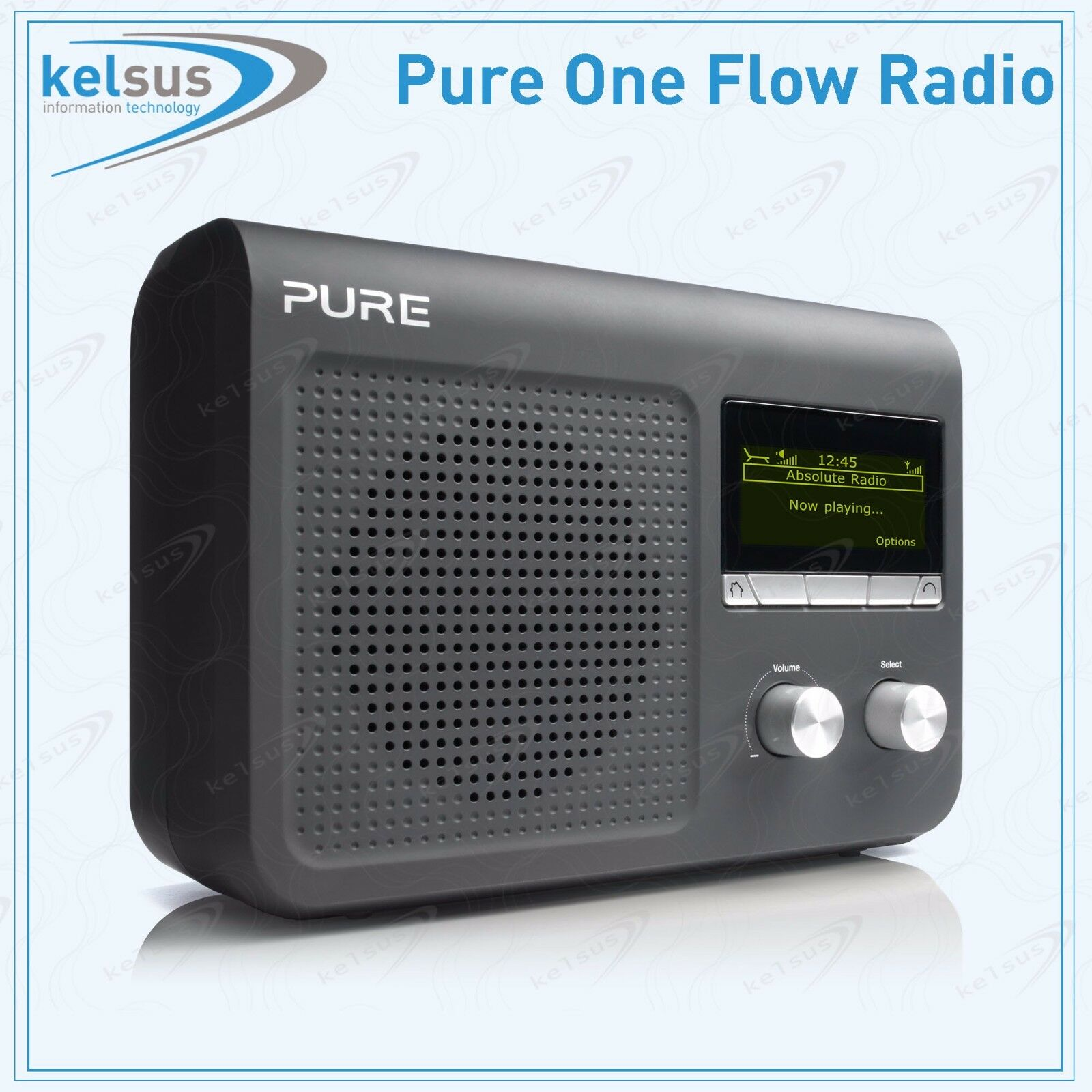 pure one flow portable tabletop dab dab digital fm radio alarm clock usb bla. Black Bedroom Furniture Sets. Home Design Ideas
