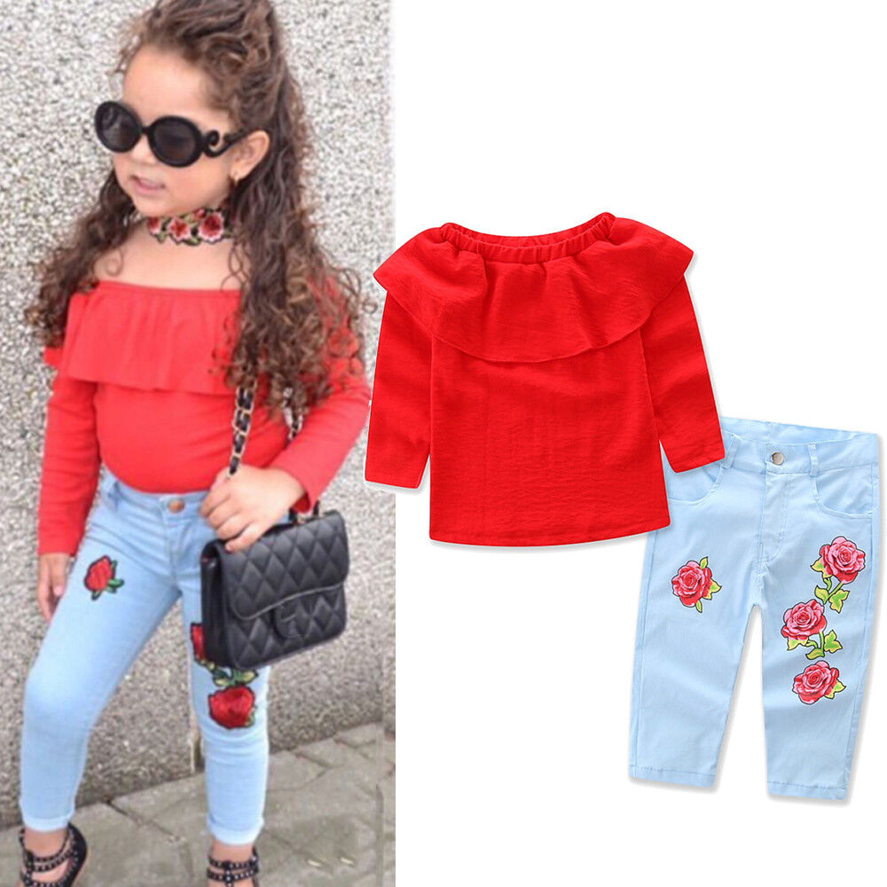 FLORAL TODDLER Kids Baby Girl T-Shirt Tops+Denim Jeans Pants Clothes Outfit Set - EUR 496 ...
