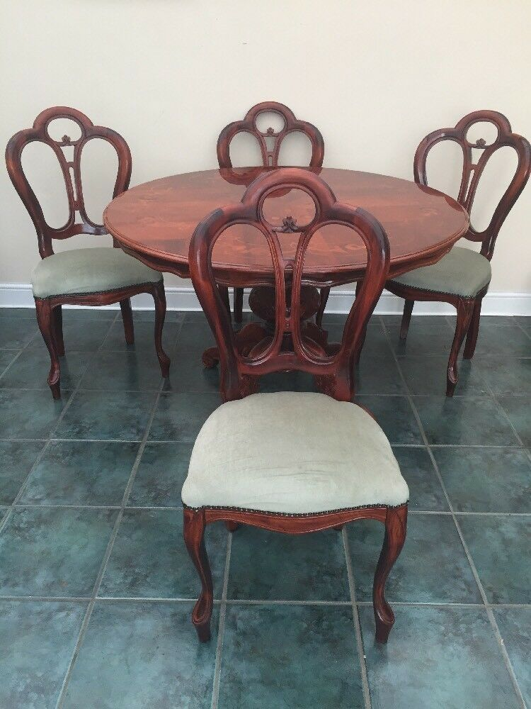 Italian inlaid round wooden dining table and four padded for Wood round dining table for 4
