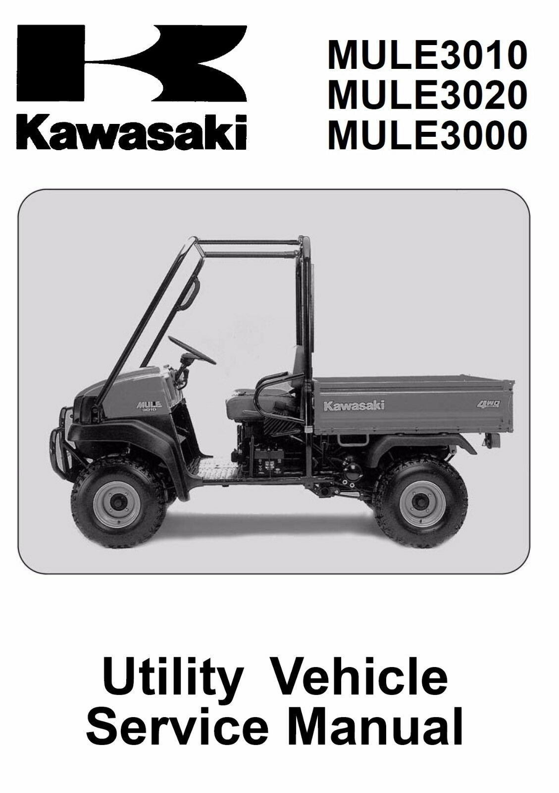 Kawasaki 2001 2002 2003 2004 2005 Mule 3000 3010 3020 service manual in  binder 1 of 4Only 1 available ...